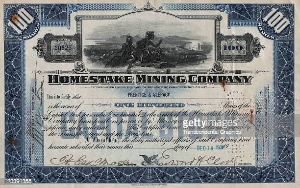 A stock certificate for a California gold operation is issued by the EF Hutton company in 1931 in New York City