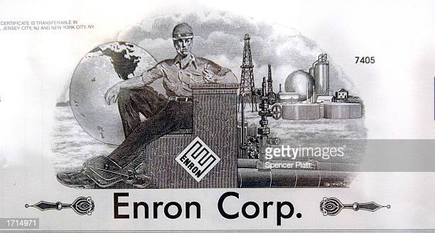 A stock certificate from the Enron Corporation is displayed at the Museum of American Financial History January 8 2003 in New York City The museum an...