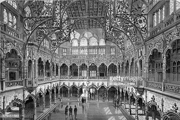 Stock exchange of antwerp belgium historical woodcut circa 1888