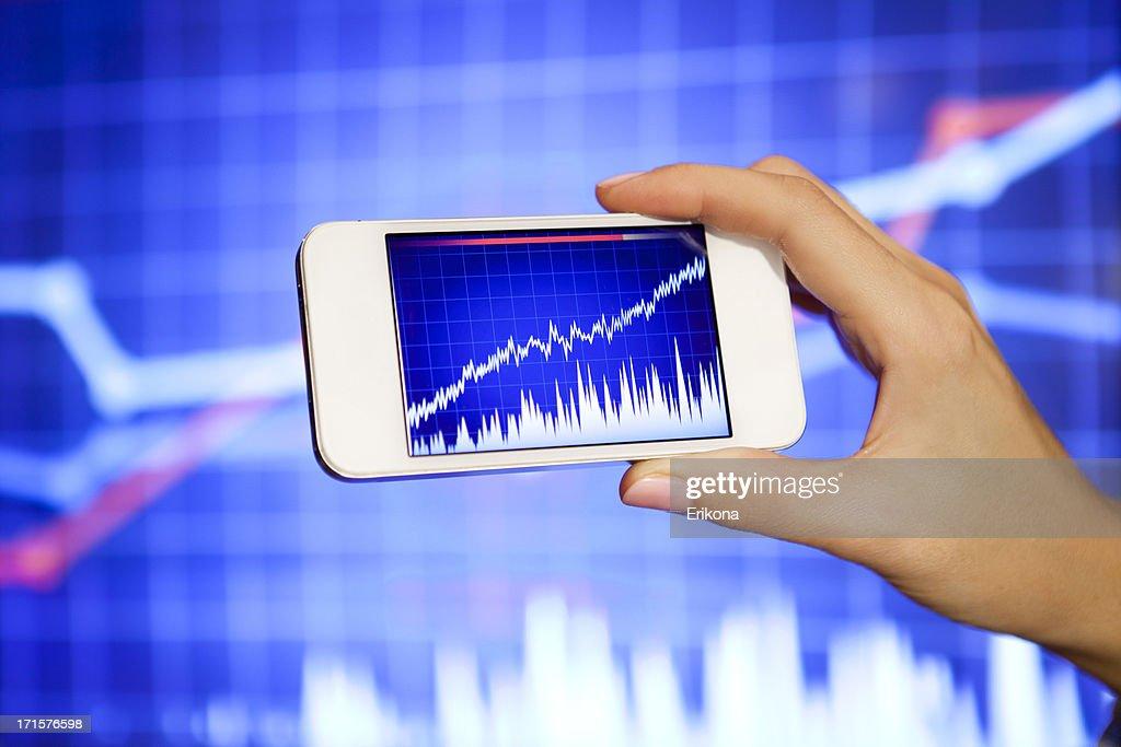 Stock Exchange on Smart Phone : Stock Photo