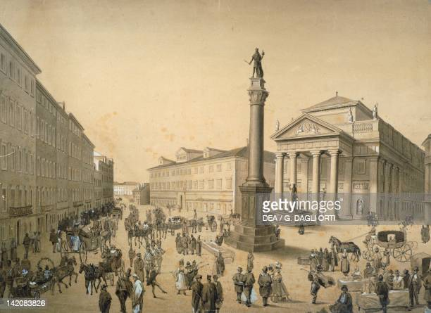 Stock Exchange Square in Trieste ca 1830 watercolour Italy 19th century