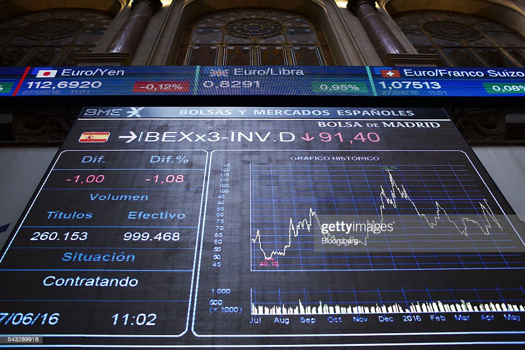 A stock index curve sits on an electronic ticker screen at the Madrid stock exchange, also known as Bolsas y Mercados Espanoles, in Madrid, Spain, on Monday, June 27, 2016. Spanish government bonds jumped, pushing the yield down by the most in eight months, after Acting Prime Minister Mariano Rajoy defied opinion polls to consolidate his position in the country's general election after Brexit rocked the world's financial markets last week. Photographer: Angel Navarrete/Bloomberg via Getty Images
