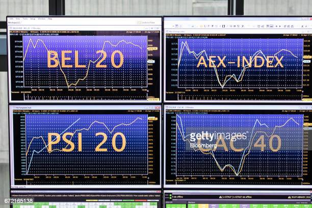 Stock index curves for Belgium the Netherlands Portugal and France sit displayed on monitors inside the Paris stock exchange operated by Euronext NV...