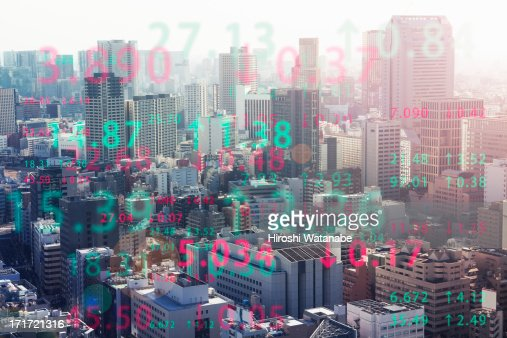 Stock index with cityscape aerial view