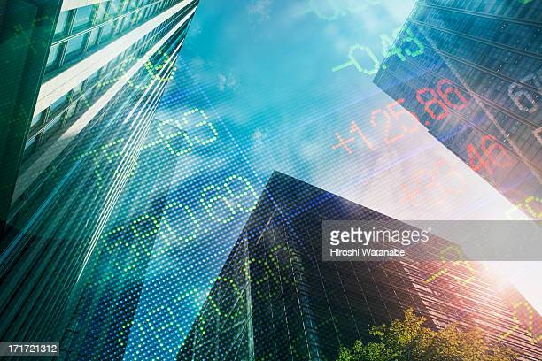 Stock index with cityscape
