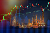 Stock market concept with oil refinery industry background,Double exposure.