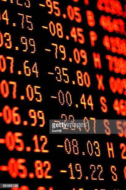 Caída de la bolsa de gran venta-Rojo financiero pantalla de comercio