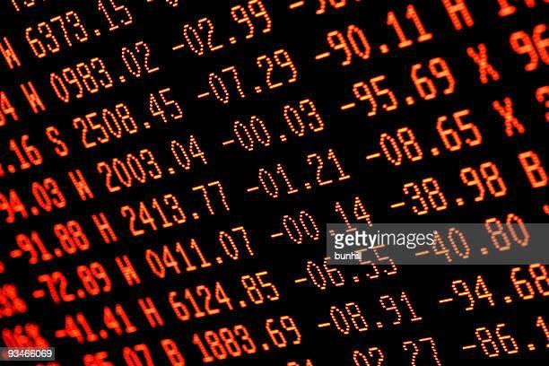 Caída de la bolsa de comercio de números-rojo