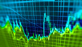 Stock market graph and bar chart price display. Data on live computer screen. Display of quotes pricing graph visualization. Abstract financial background trade colorful Stock exchange trade chart bar