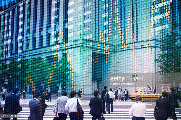 Stock market graph with cityscape