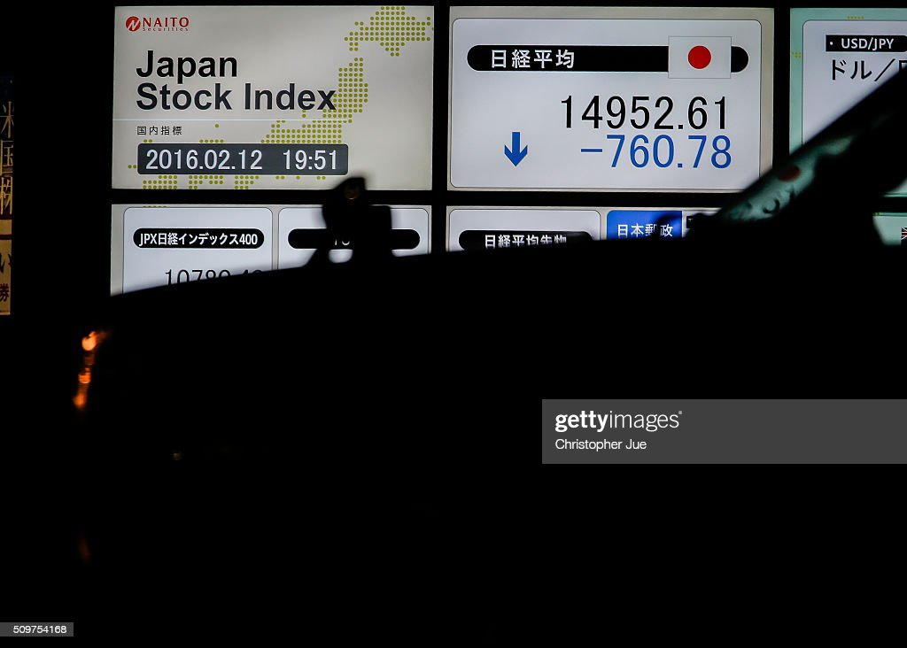 A stock market indicator board is pictured on February 12, 2016 in Tokyo, Japan. The Nikkei Stock Average finished 11% down for the week, its biggest weekly drop since October 2008, and the index for the day ended 4.8% down, the lowest since October 2014.