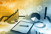 Stock market report. 3d illustration