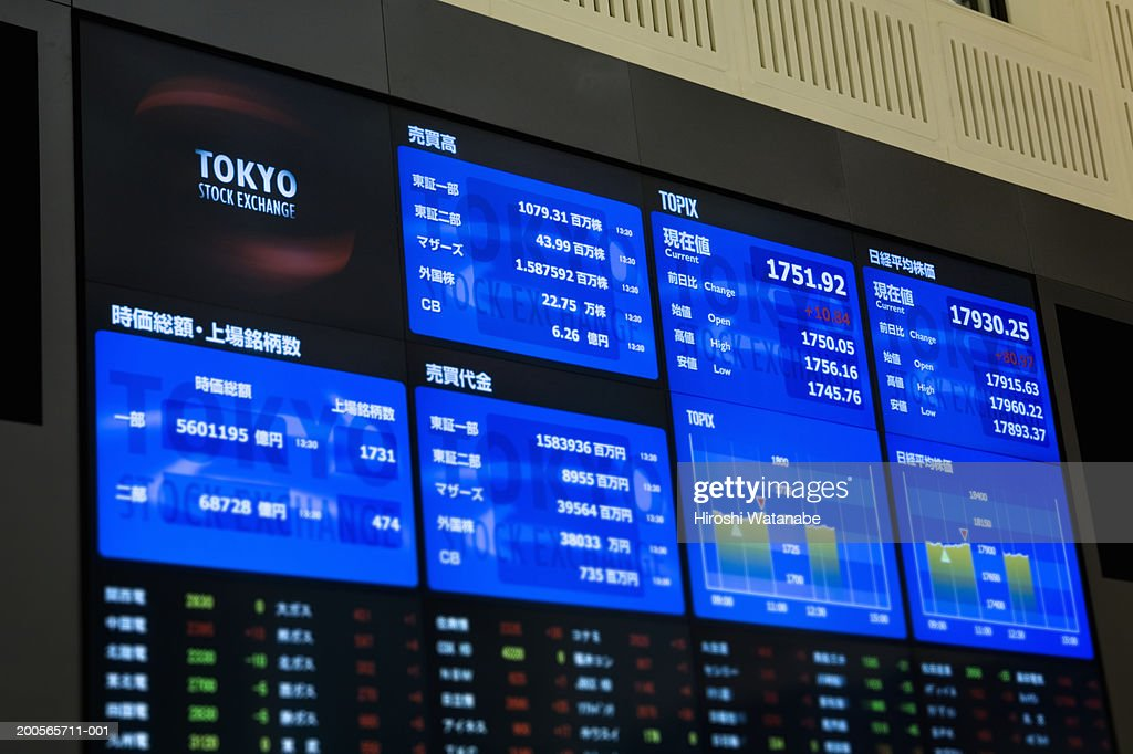 Stock market with reader board, close-up