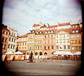 A stock photograph of Castle Square Warsaw Poland, using a Holga camera which acheives an artistic and photographic effect.