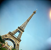 A stock photograph of the Eiffel Tower Paris France.