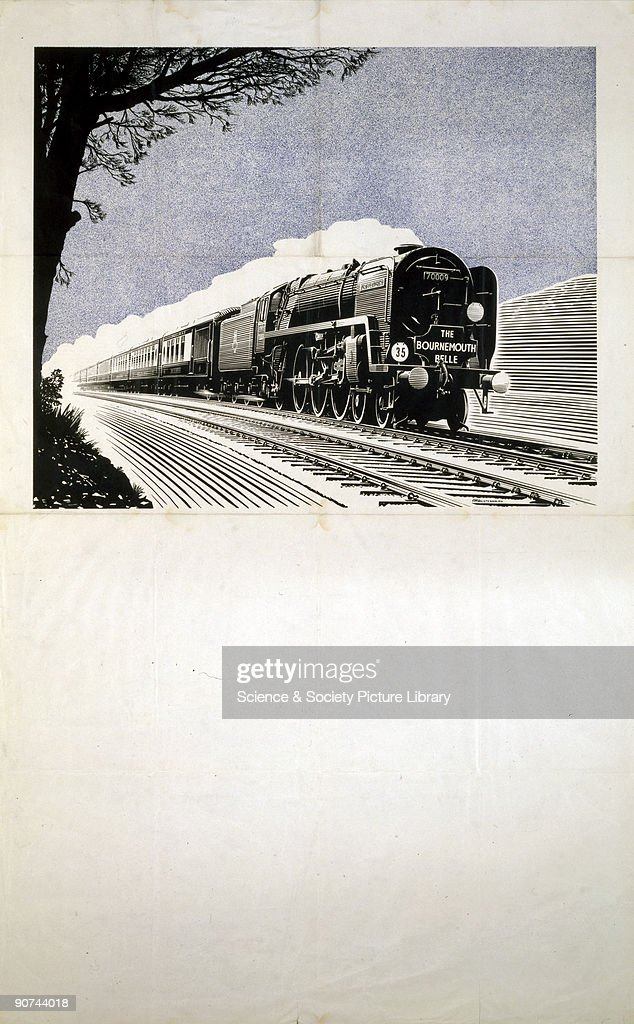 Stock poster produced for British Railways showing an illustration of the 'Bournemouth Belle' steam locomotive travelling at speed along the tracks...