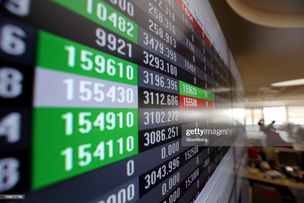 Stock prices are seen displayed on an electronic screen inside the Moscow Exchange in Moscow, Russia, on Thursday, Jan. 24, 2013. The Moscow Exchange, Russia's biggest bourse, plans to raise more than $500 million in an initial public offering, according to a person with knowledge of the matter. Photographer: Andrey Rudakov/Bloomberg via Getty Images