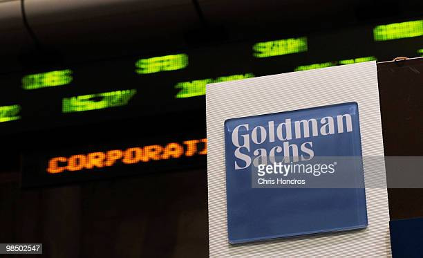 Stock prices whiz by on a ticker near the Goldman Sachs booth on the floor of the New York Stock Exchange April 16 2010 in New York New York Goldman...