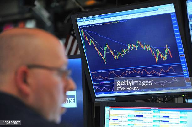 A stock specialist works just before the closing bell at the New York Stock Exchange August 8 2011 US stocks plummeted more than five percent on...