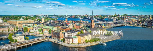 Stockholm aerial panorama over historic Gamla Stan Sodermalm landmarks Sweden