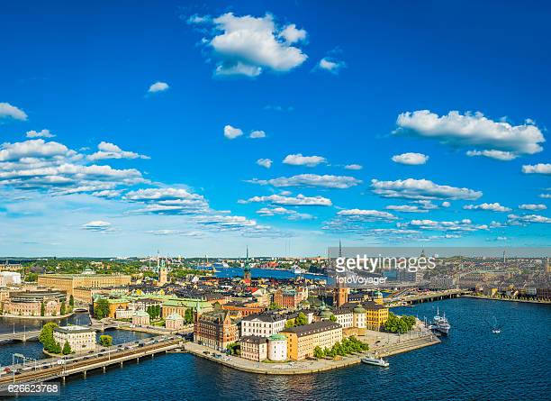 Stockholm aerial view over Gamla Stan spires summer harbour Sweden