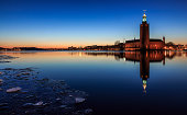 Stockholm City Hall in winter with reflections