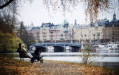 Stockholm is seen in the background as a couple relax on a park bench on November 1 2011 in the Djurgaarden park in the city AFP PHOTO/JONATHAN...