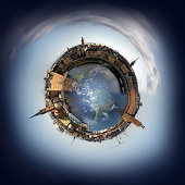 Stockholm old town skyline, 360 degree miniplanet (Elements of this image furnished by NASA http://visibleearth.nasa.gov/view.php?id=54388)