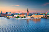 Image of Stockholm, Sweden during twilight blue hour.