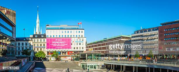 Stockholm Sergels Torg shops restaurants around public square panorama Sweden