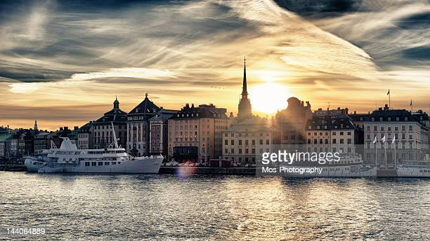 Stockholm skyline at sunset