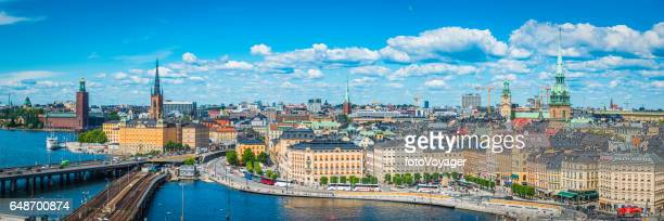 Stockholm summer spires harbour waterfront cityscape panorama Gamla Stan Sweden