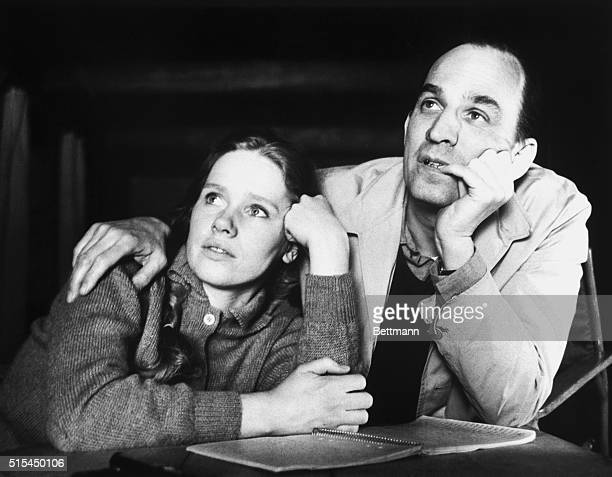 4/5/1968 Stockholm Sweden Ingmar Bergman and Actress Liv Ullman talk about 'Hour of the Wolf' during a break in shooting of that film in Stockholm...