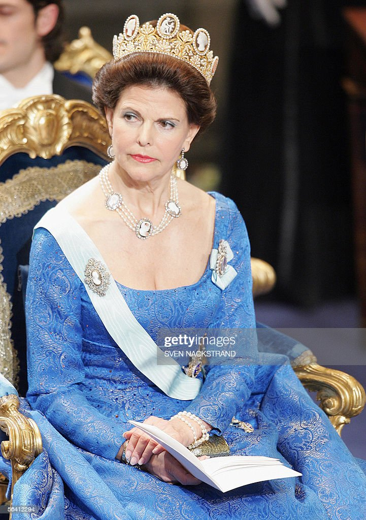 Swedish Queen Silvia appears during the Nobel Prize Award ceremony at the Concert Hall in Stockholm, 10 December 2005.