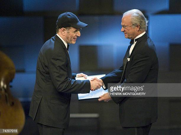 US composer and musician Steve Reich receives the 2007 Polar Music Prize from Swedish King Carl XVI Gustaf at the Concert Hall in Stockholm 21 May...