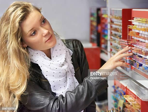 Stocking up her art kit