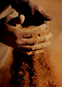 Stockman Gordon Litchfield from Wilpoorinna sheep and cattle station holds a handful of bull dust on his property June 7 2005 in Leigh Creek...