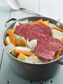 New England Boil of corned beef, cabbage, carrots and potatoes