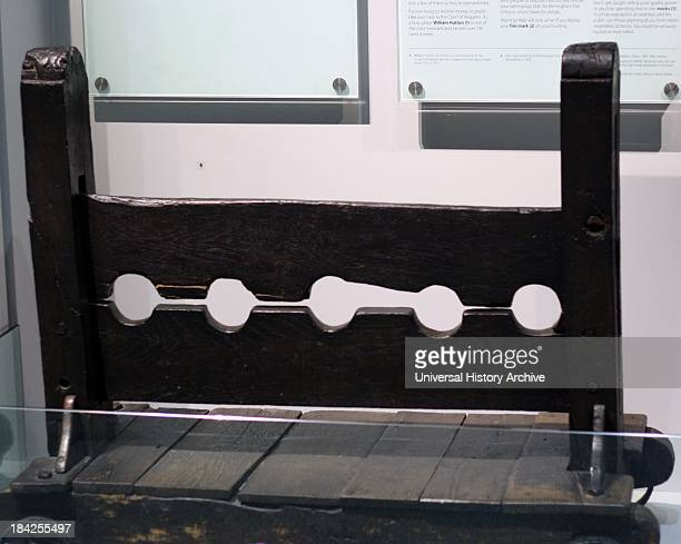 Stocks that were originally used outside the public offices in Birmingham's Moor Street Accused criminals would be held by the neck in these stocks...