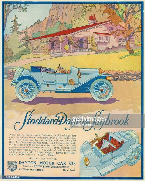 A StoddardDayton Saybrook automobile is shown in a magazine advertisement from 1912 The seat backs are pulled forward to show a luggage compartment...