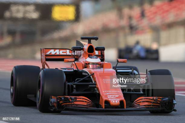 Stoffel Vandoorne McLaren Honda MCL32 in action during the Formula One winter testing at Circuit de Catalunya on March 10 2017 in Montmelo Spain