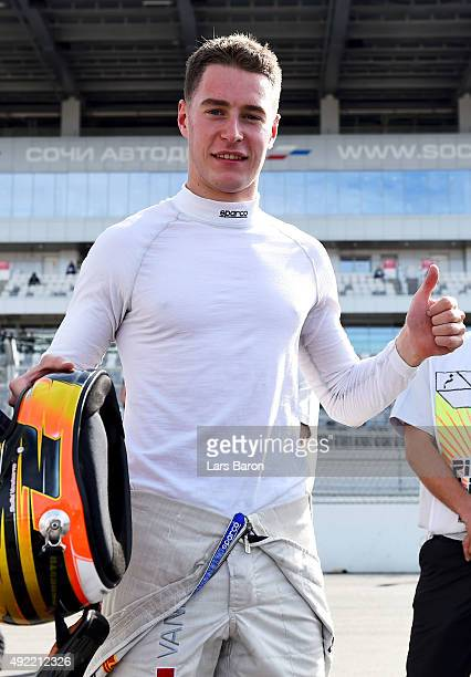 Stoffel Vandoorne of Belgium and ART Grand Prix celebrates claiming the 2015 GP' Series Championship after finishing fourth in the Sprint Race before...