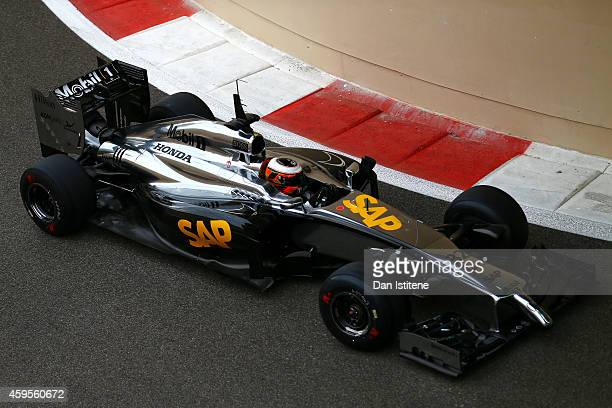 Stoffel Vandoorne of Belgium and McLaren drives during day one of Formula One testing at Yas Marina Circuit on November 25 2014 in Abu Dhabi United...