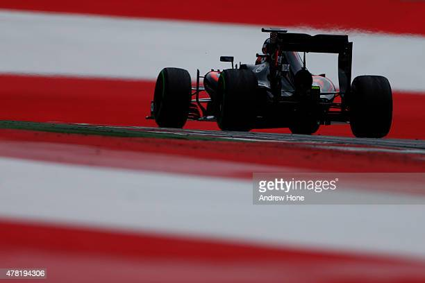 Stoffel Vandoorne of Belgium and McLaren drives during Formula One testing at the Red Bull Ring on June 23 2015 in Spielberg Austria
