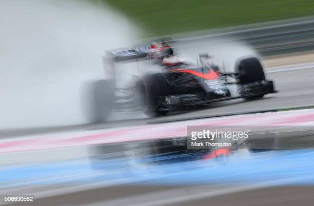 Stoffel Vandoorne of Belgium and McLaren Honda drives during wet weather tyre testing at Circuit Paul Ricard on January 25 2016 in Le Castellet France