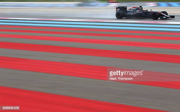 Stoffel Vandoorne of Belgium and McLaren Honda drives during wet weather tyre testing at Circuit Paul Ricard on January 26 2016 in Le Castellet France