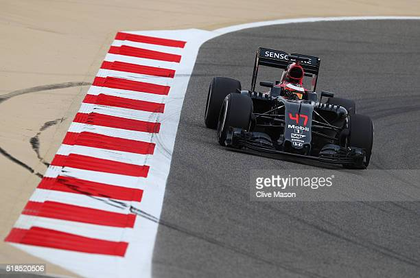 Stoffel Vandoorne of Belgium and McLaren Honda drives in the McLaren MP431 Honda on track during practice for the Bahrain Formula One Grand Prix at...