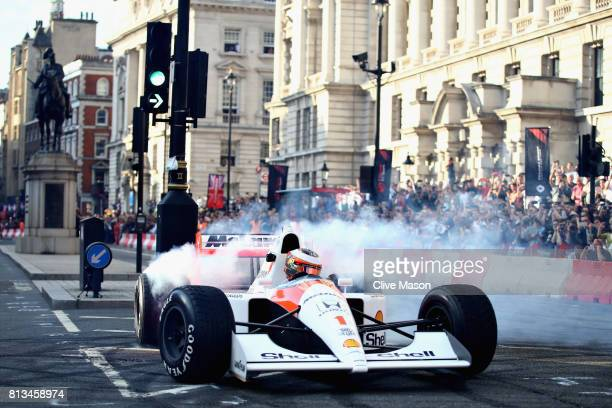 Stoffel Vandoorne of Belgium and McLaren Honda drives the MP46 during F1 Live London at Trafalgar Square on July 12 2017 in London England F1 Live...