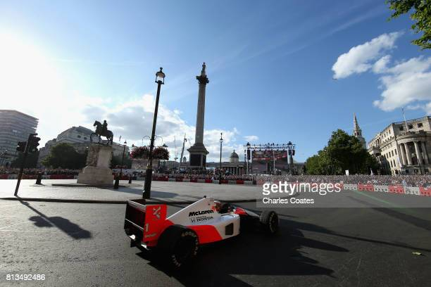 Stoffel Vandoorne of Belgium and McLaren Honda driving the McLaren MP46 during F1 Live London at Trafalgar Square on July 12 2017 in London England...