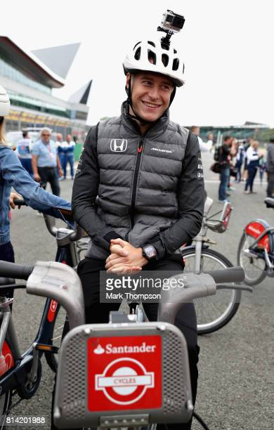 Stoffel Vandoorne of Belgium and McLaren Honda during the Santander Cycle Challenge at the 2017 British Grand Prix at Silverstone Circuit on July 13...